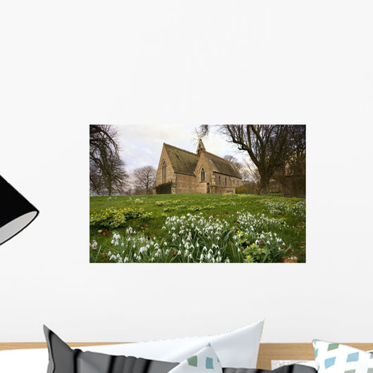 White Flowers With A Small Church In Background Wall Mural