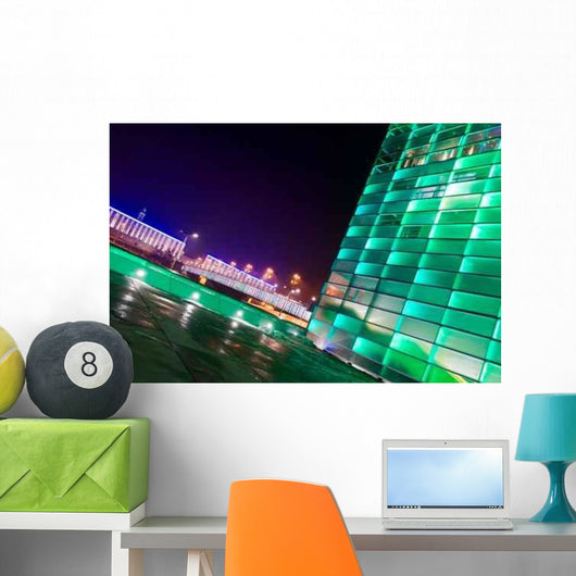 Bright Green Buildings Wall Mural