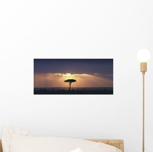 An Acacia Tree And Wildebeest Under A Sunset Wall Mural