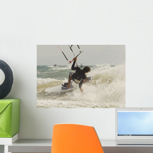 Kitesurfer Catching A Wave Wall Mural