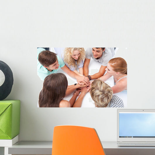 Teens Playing Floor Hands Wall Mural