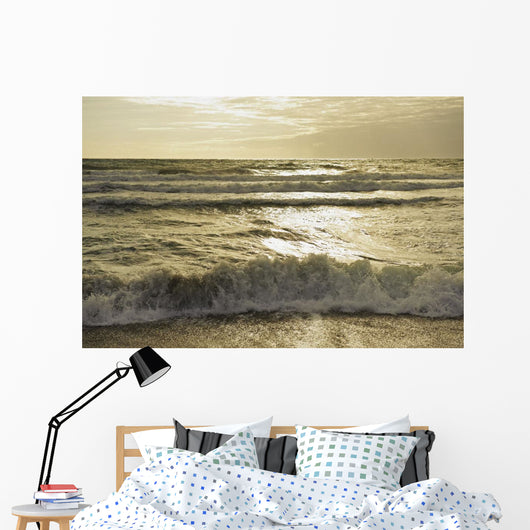 Waves Of The Ocean At Sunset Wall Mural