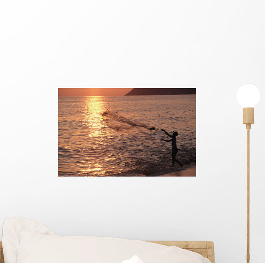 Sunset And Fisherman Wall Mural