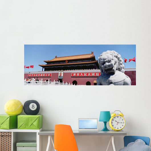Stone Lion Statue And Portrait Of Mao On Tiamanmen Wall Mural
