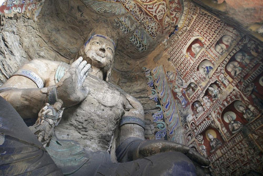 Statue And Carvings In Ancient Buddhist Temple Grotto Wall Mural