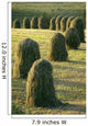 Hay Stacks Lined Up In Green Fields Wall Mural