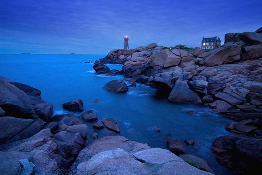 Small Lighthouse And House At Dusk Wall Mural