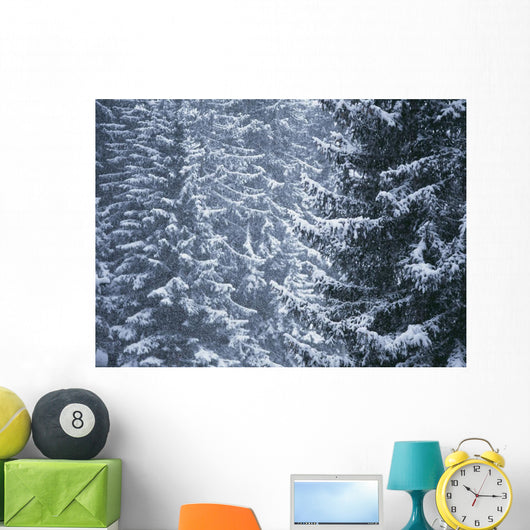 Pine Trees Covered In Snow, Les Arcs Wall Mural