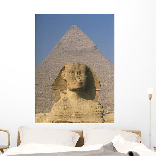Sphinx In Front Of Great Pyramid Of Chephren Wall Mural