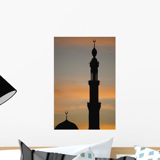 Silhouette Of Mosque At Dawn Wall Mural