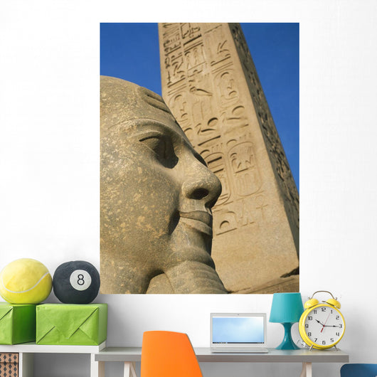 Detail Of Head Of Pharaoh In Front Of Obelisk Wall Mural