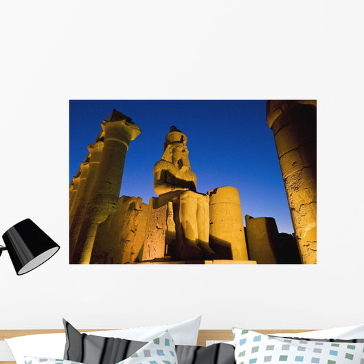 Colonnade Of Amenophis Iii With Statue Of Ramses Ii At Dusk Wall Mural
