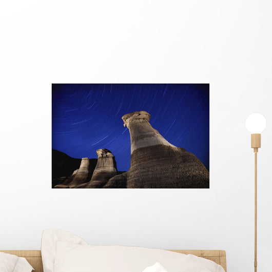 Hoodoos And Star Trails In The Sky Wall Mural