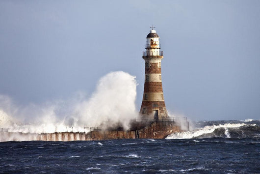 Waves Crashing Against Roker Lighthouse Wall Mural