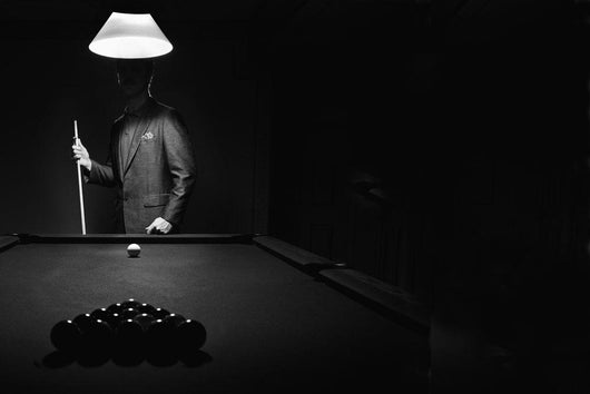Pool Player in Black and White Wall Mural