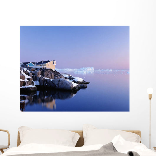 Houses On The Coastline With Icebergs, Disko Bay Wall Mural