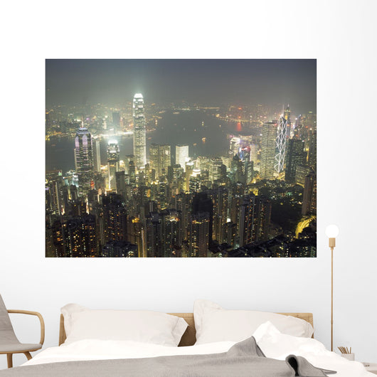 City Illuminated At Night, Hong Kong Wall Mural