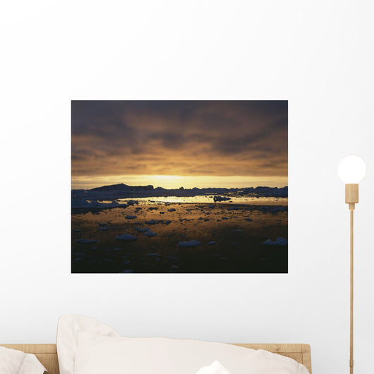 Midnight Sun Over Snowy Disko Bay Wall Mural