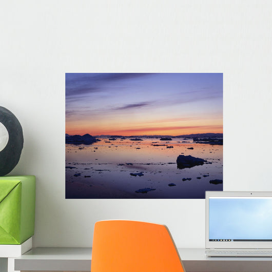 Landscapes, Sunset Over Icebergs Wall Mural