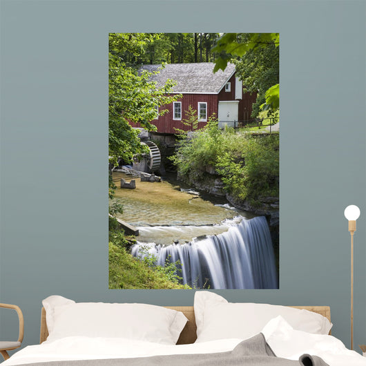Red Barn With A Mill Wheel And Waterfall Wall Mural