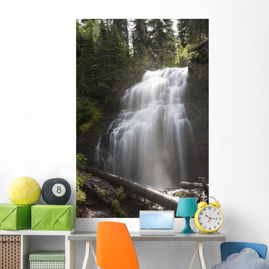 Waterfalls Flowing Down A Rock Cliff Wall Mural