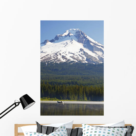 Boating In Trillium Lake With Mount Hood Wall Mural