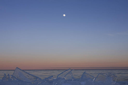 Full Moon At Dusk With Ice On Lake Superior Wall Mural