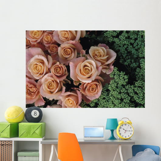 Roses And Green Flowers, Close Up Wall Mural