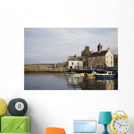 Village Houses And Boats In Harbor Wall Mural