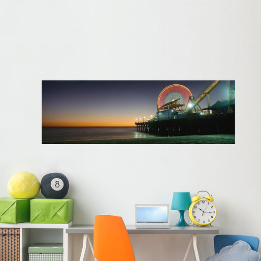 Ferris Wheel And Rollercoaster At Dusk On The Santa Monica Pier Wall Mural