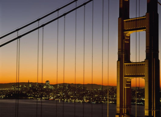 Detail Of The Golden Gate Bridge At Dawn With San Francisco Behind Wall Mural