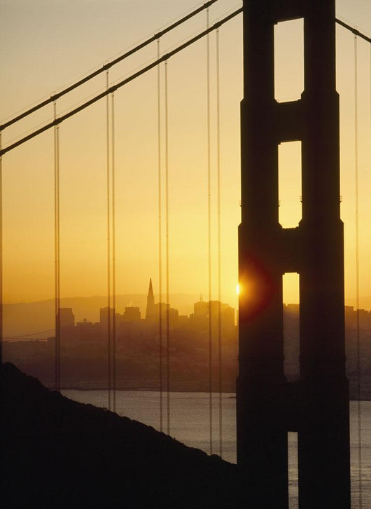 Sunrise Behind The Golden Gate Bridge With San Francisco Behind Wall Mural