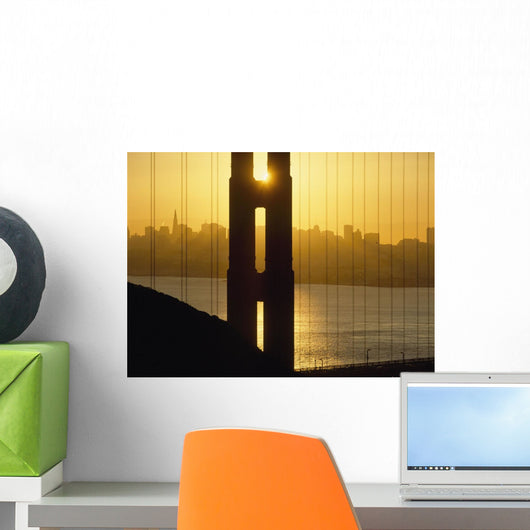 Sunrise Behind The Golden Gate Bridge With Skyline Behind Wall Mural