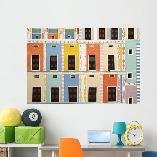 Bright Multicolored Building, Close Up Wall Mural