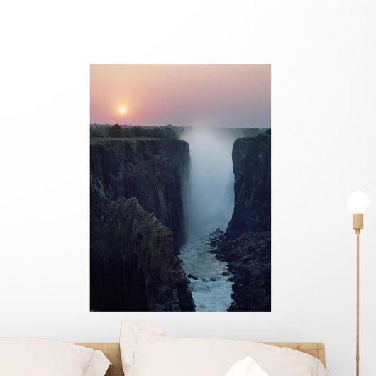 Looking Along Victoria Falls At Dusk From Zambia To Zimbabwe Wall Mural