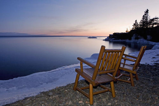Two Chairs At Water's Edge Looking Out Over Lake Superior Wall Mural