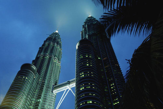 Petronas, Twin Towers At Night, Low Angle View Wall Mural