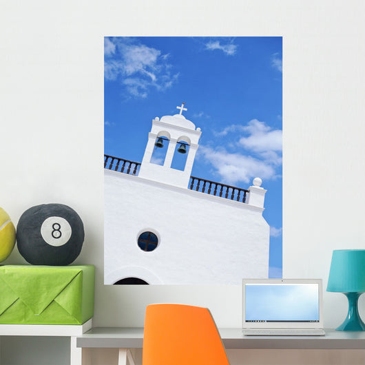 Whitewashed Church With Bell Tower Wall Mural