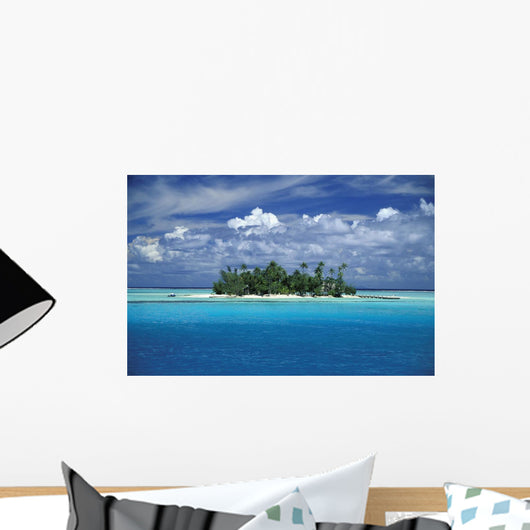 Small Palm Tree Covered Tropical Island Wall Mural