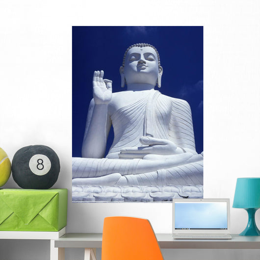 Large Seated White Buddha Wall Mural