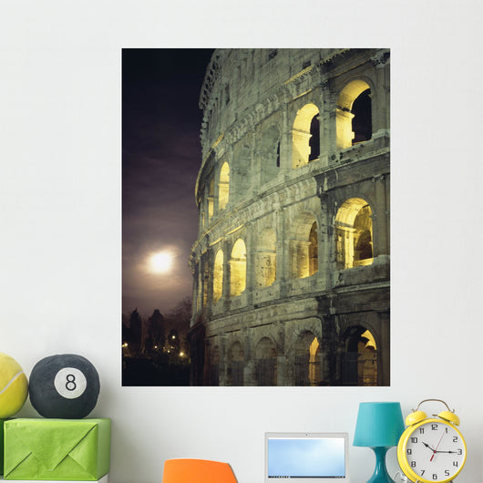 Coliseum At Night With Full Moon Wall Mural