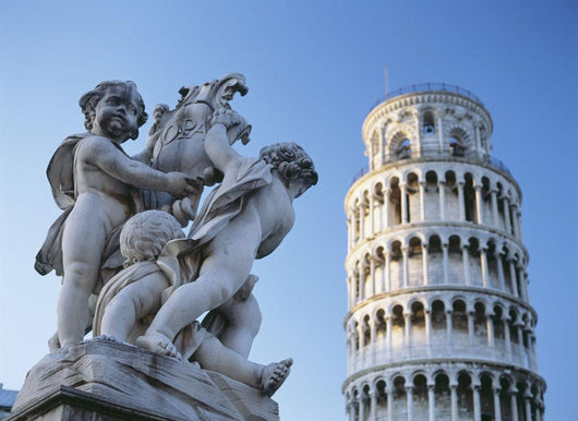 Leaning Tower Of Pisa With Statue Wall Mural