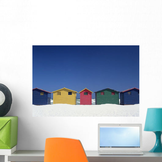 Colourful Beach Huts In Cape Town Wall Mural