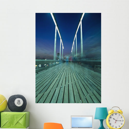 People On Swing Bridge At Dusk, Blurred Motion Wall Mural