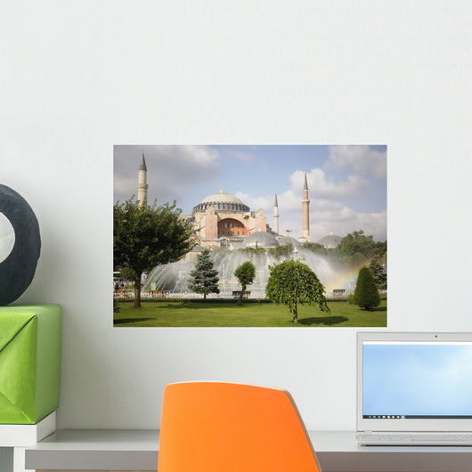 St Sophia Mosque And Fountain In Park Wall Mural