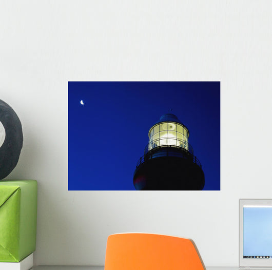 Moon Crescent Above Lighthouse At Dusk, Low Angle View, Close Up Wall Mural