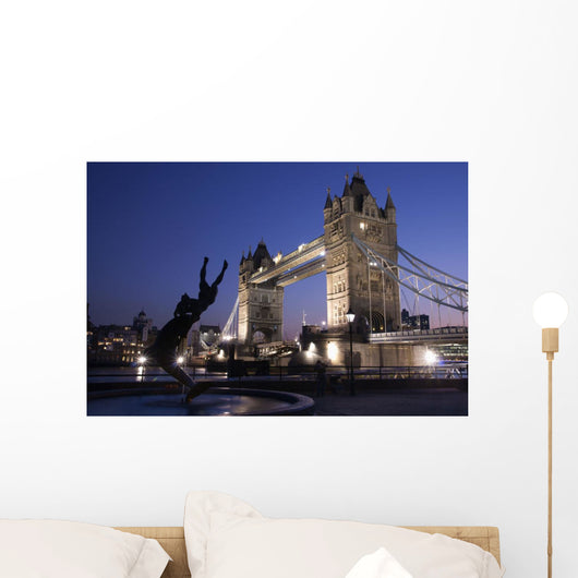 Tower Bridge At Dusk With Dolphin Statue In The Foreground Wall Mural