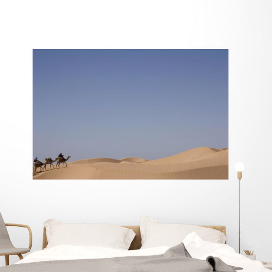 Camel Trek On Sand Dunes Wall Mural