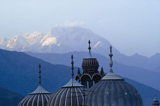 Domes Of Chitral Mosque With Trich Mir Mountain Peak In Background Wall Mural