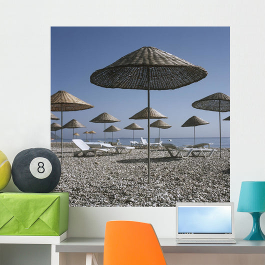 Palapas And Sun Loungers On Beach Wall Mural